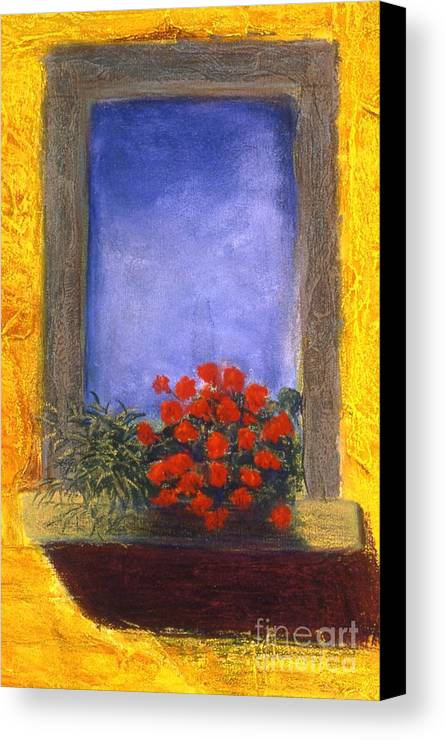 Colorful Canvas Print featuring the painting La Finstra Con I Fiori by Mary Erbert