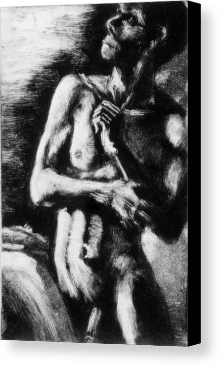 Man Canvas Print featuring the painting Monotype Series 30 by John Clum