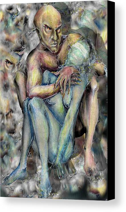 Demons Love Passion Control Posession Woman Lust Canvas Print featuring the mixed media My Precious by Veronica Jackson