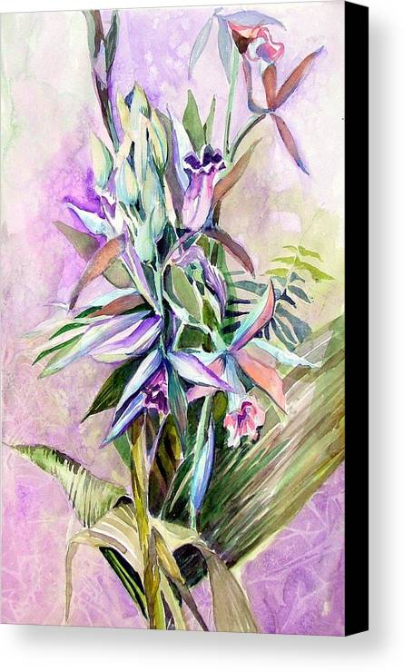 Orchid Canvas Print featuring the painting Nun's Hood by Mindy Newman