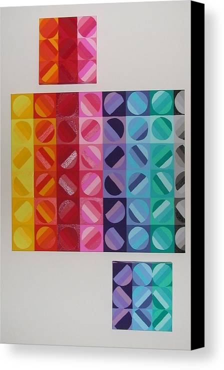 Multi Colored Circles Painting Canvas Print featuring the painting Over And Under The Rainbow by Gay Dallek