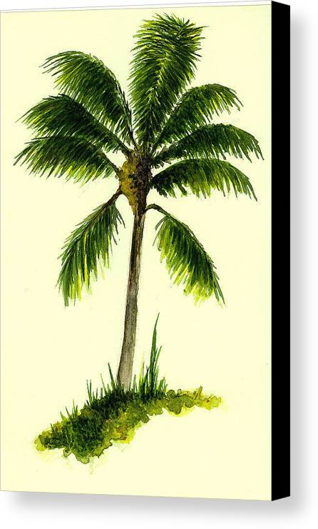 Tree Canvas Print featuring the painting Palm Tree Number 1 by Michael Vigliotti