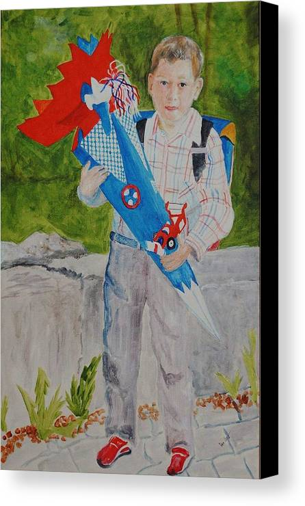 School Canvas Print featuring the painting Pascals First Day At School 2004 by Helmut Rottler