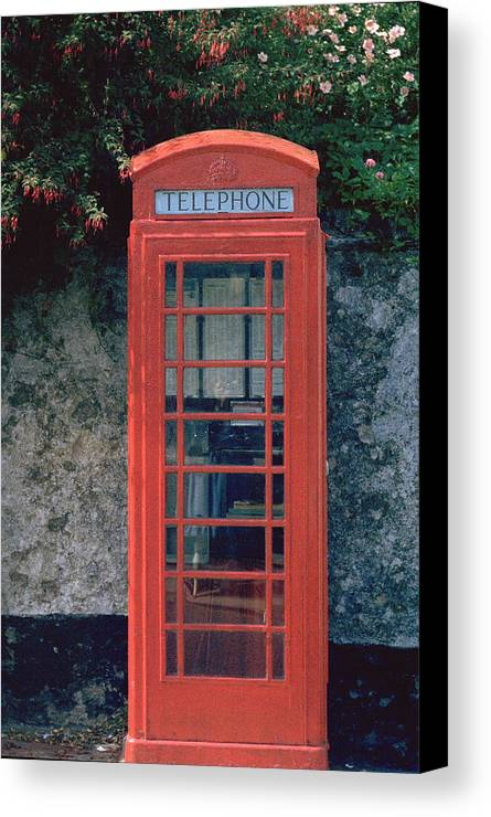 Great Britain Canvas Print featuring the photograph Phone Booth by Flavia Westerwelle