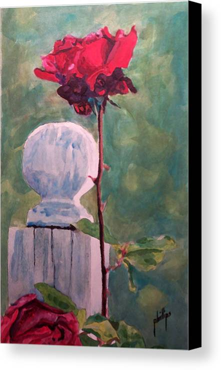 Post Canvas Print featuring the painting Post And The Rose by Jim Phillips