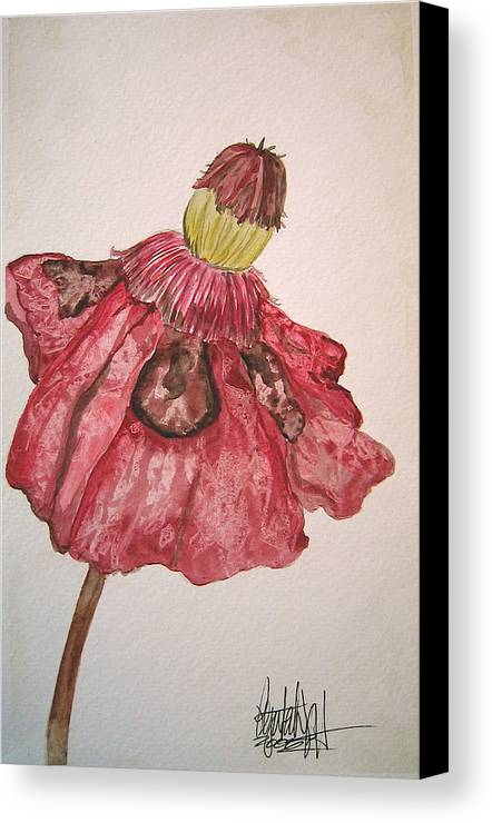 Original Art Canvas Print featuring the painting Red Poppy by K Hoover
