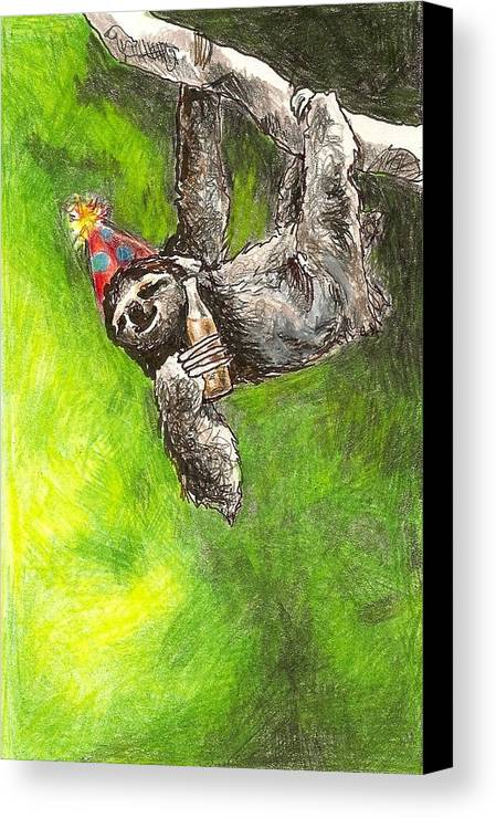 Kristen Bell Canvas Print featuring the drawing Sloth Birthday Party by Steve Asbell