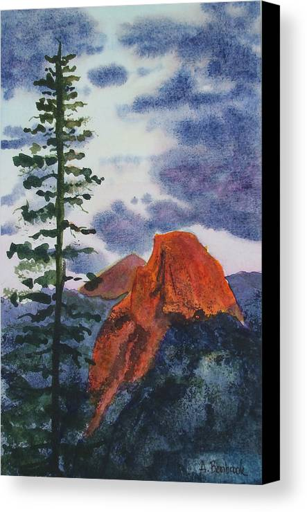 Yosemite Canvas Print featuring the painting Sunset At Half Dome by Ally Benbrook