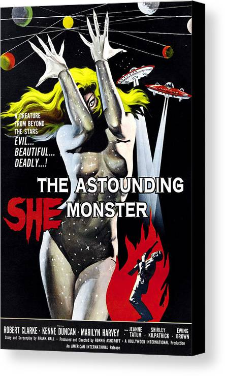 1950s Poster Art Canvas Print featuring the photograph The Astounding She-monster, 1-sheet by Everett