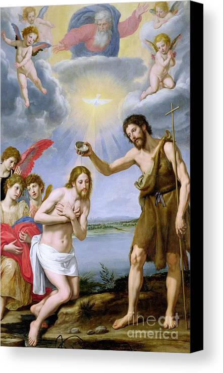 The Baptism Of Christ (oil On Canvas) Holy Ghost; Dove; John The Baptist; Saint; St.; Baptising; Bapteme Du Christ; Jesus; River Jordan Canvas Print featuring the painting The Baptism Of Christ by Ottavio Vannini