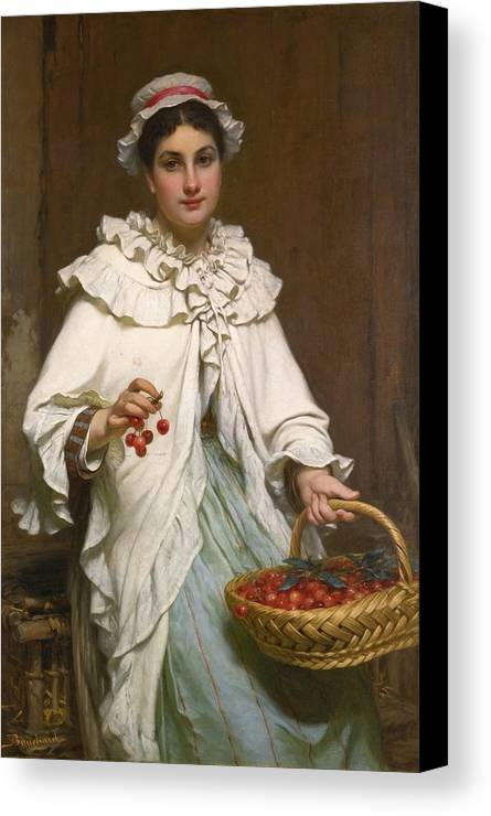Pierre-fran�ois Bouchard French 1831-1889 The Cherry Picker Canvas Print featuring the painting The Cherry Picker by Pierre