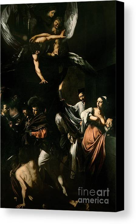 Breast Feeding; Old Man; Acts; Charity; Angel; The Seven Works Of Mercy Canvas Print featuring the painting The Seven Works Of Mercy by Caravaggio