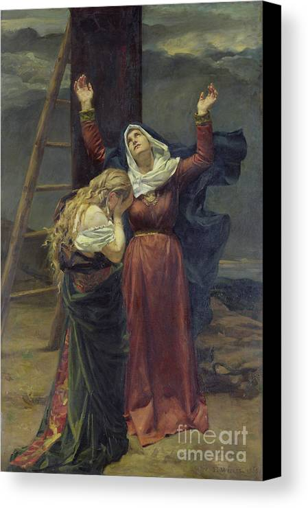 Madonna; Mary; Mourning; Sorrow; Sadness; C19th; C20th; St. Mary Magdalene; Saint; Crying; Weeping; Ladder; Crucifixion Canvas Print featuring the painting The Virgin At The Foot Of The Cross by Jean Joseph Weerts