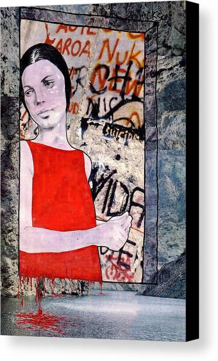 Woman Window Wall Water Blood Life Canvas Print featuring the mixed media The Window by Veronica Jackson