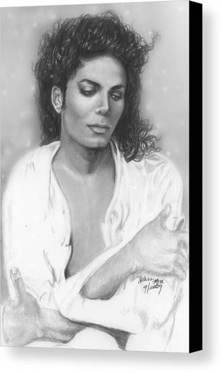 Michael Jackson Canvas Print featuring the drawing Unfinished Art - Michael Jackson by Carliss Mora