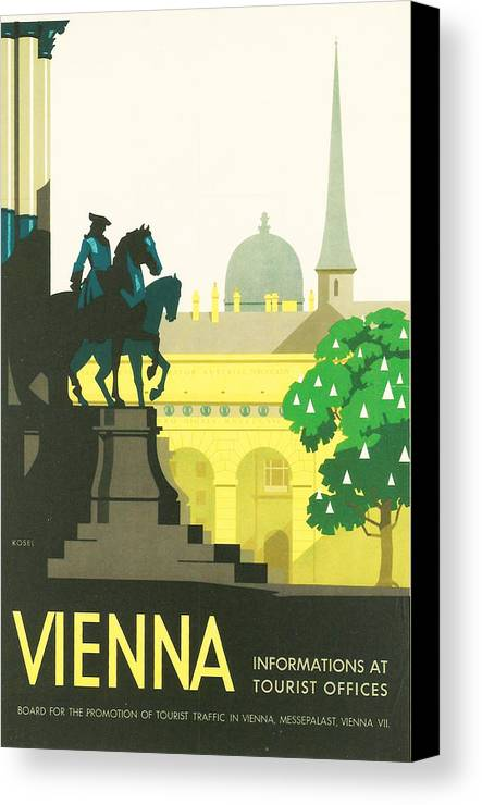 Vintage Travel Canvas Print featuring the digital art Vienna by Georgia Fowler