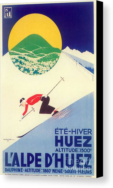 Skiing Canvas Print featuring the painting Vintage Travel Skiing by Mindy Sommers