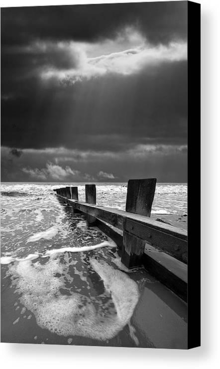 Groyne Canvas Print featuring the photograph Wave Defenses by Meirion Matthias