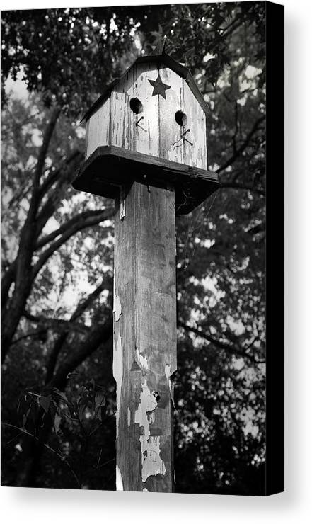 Birdhouse Canvas Print featuring the photograph Weathered Bird House by Teresa Mucha