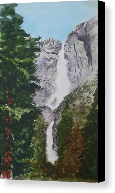 Yosemite Canvas Print featuring the painting Yosemite Falls 1 by Ally Benbrook