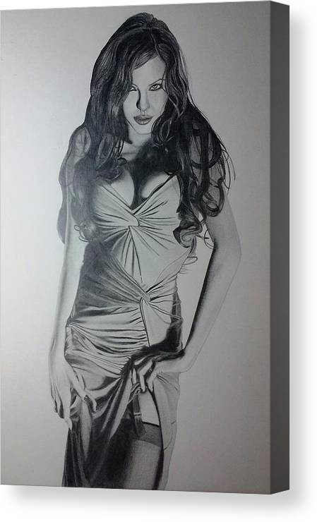 Angelina Jolie Canvas Print featuring the drawing Angelina by Eric Tenute
