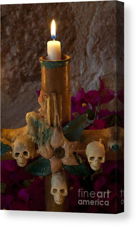 San Miguel De Allende Canvas Print featuring the photograph Candle On Day Of Dead Altar by John Shaw