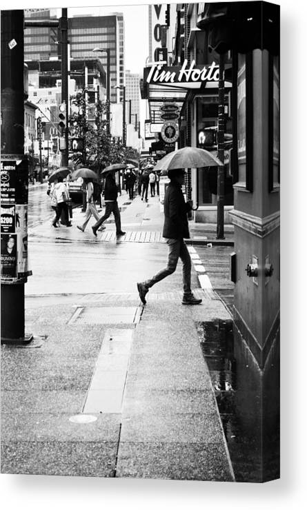 Street Photography Canvas Print featuring the photograph Missed Coffee by The Artist Project