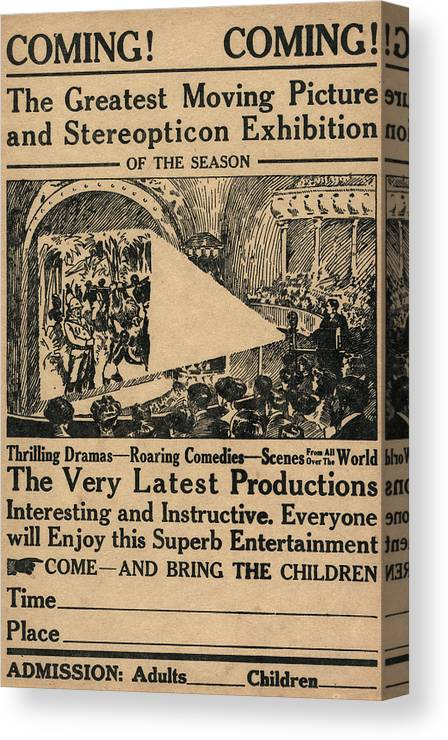 1909 Canvas Print featuring the painting Movie Theater, C1909 by Granger