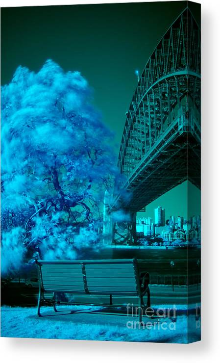 Infrared Canvas Print featuring the photograph Sydney Harbour Bridge by Ken Lee