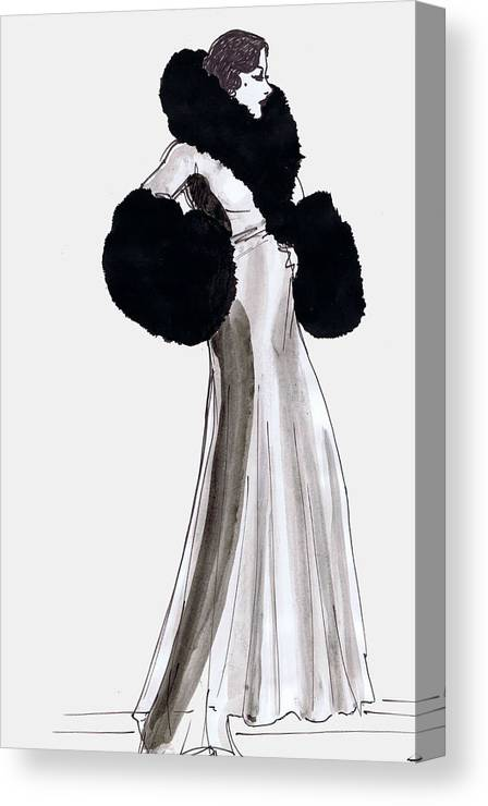 Nostalgia Canvas Print featuring the drawing Fur Coat by Mel Thompson
