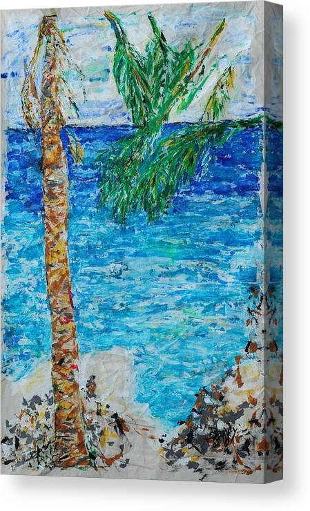 Costa Rica Canvas Print featuring the painting Palm 06 by Bradley Bishko