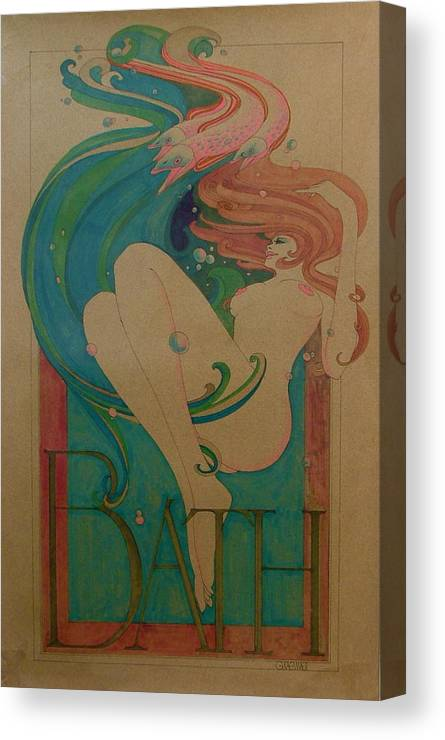Female Canvas Print featuring the painting Bath by Gary Kaemmer
