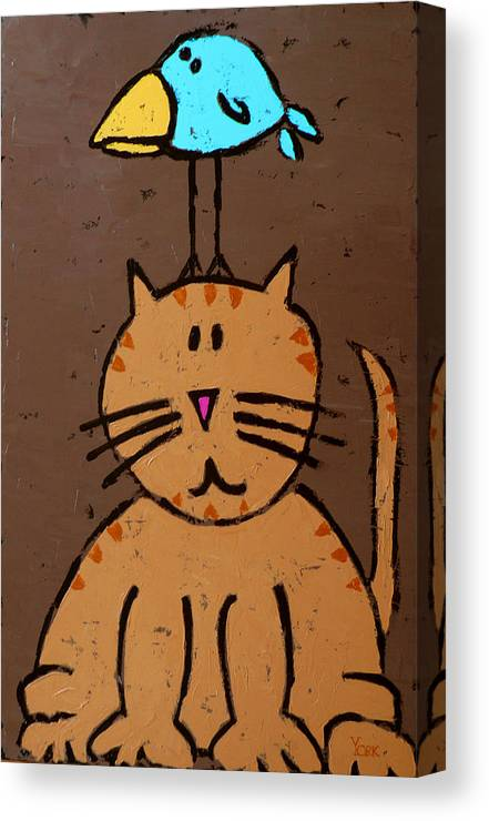 Cat Canvas Print featuring the painting Birdbrain by Ron York