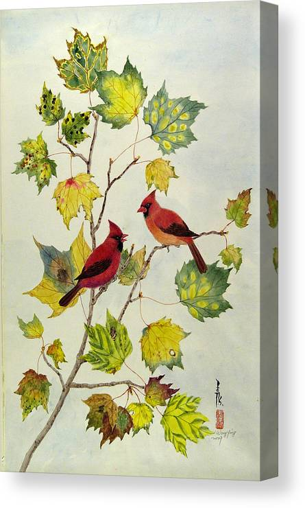 Bird Canvas Print featuring the painting Birds On Maple Tree 2 by Ying Wong