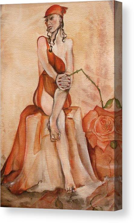 This Is A Matted And Framed Painting Of A Seated Woman In Red Holding A Bent And Broken Red Rose Bigger Than Her Head Or Heart Combined. Canvas Print featuring the painting Broken Hearted by Georgia Annwell