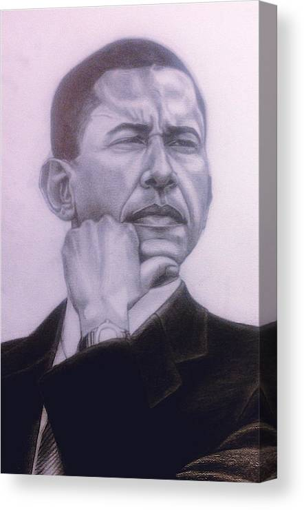 Maliksart Canvas Print featuring the drawing Brotha President by Malik Seneferu