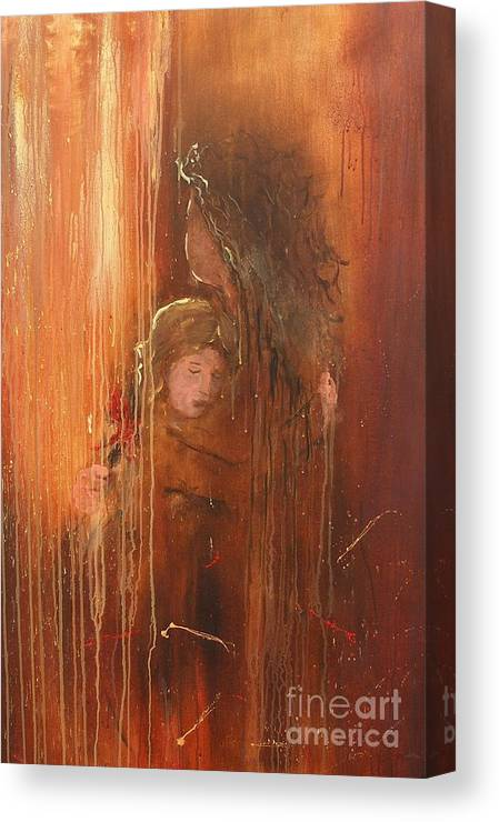 Caring Take Care Mother And Daughter Mom Baby Abstract Painting I Love You Rain Hug Little Girl Lovely Canvas Print featuring the painting Caring by Miroslaw Chelchowski