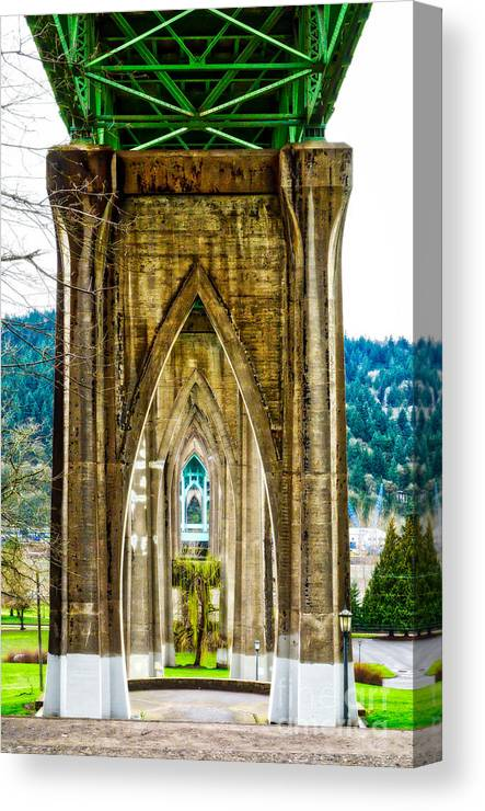 St Johns Bridge Canvas Print featuring the photograph Cathedral Park by Alex Peralta