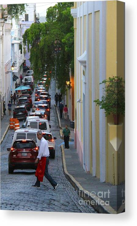 Old San Juan Canvas Print featuring the photograph Crossing San Juan by Suzanne Oesterling