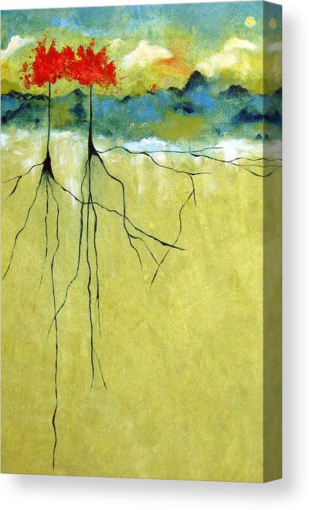 Abstract Canvas Print featuring the painting Deep Roots by Ruth Palmer