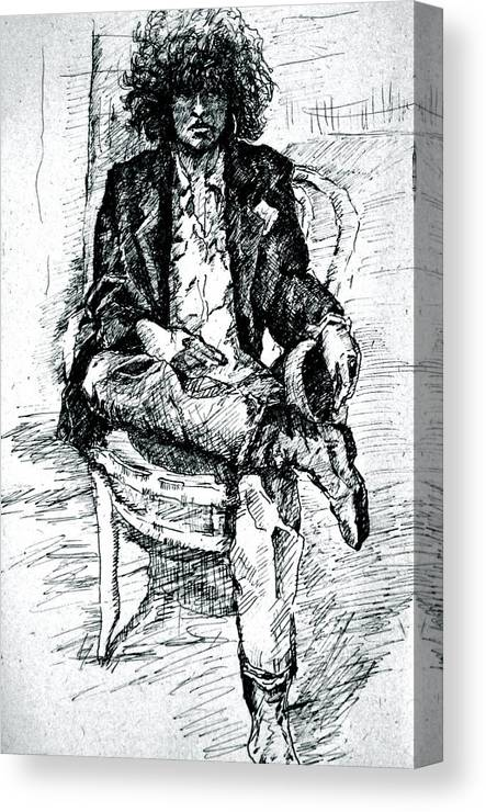 Sketch Canvas Print featuring the drawing Dressed Nowhere To Go by Dan Earle