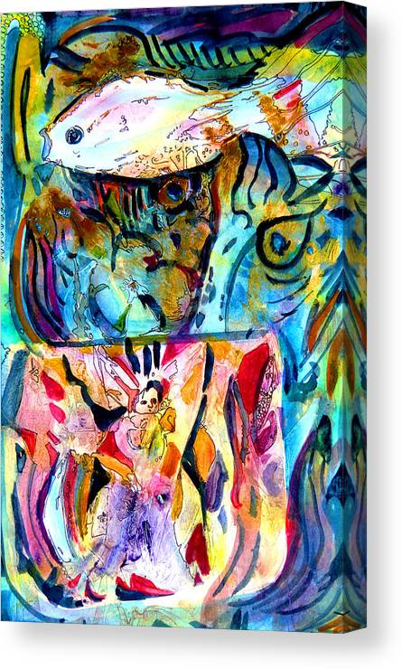 Acrylic Canvas Print featuring the painting Fish Pot by Mindy Newman