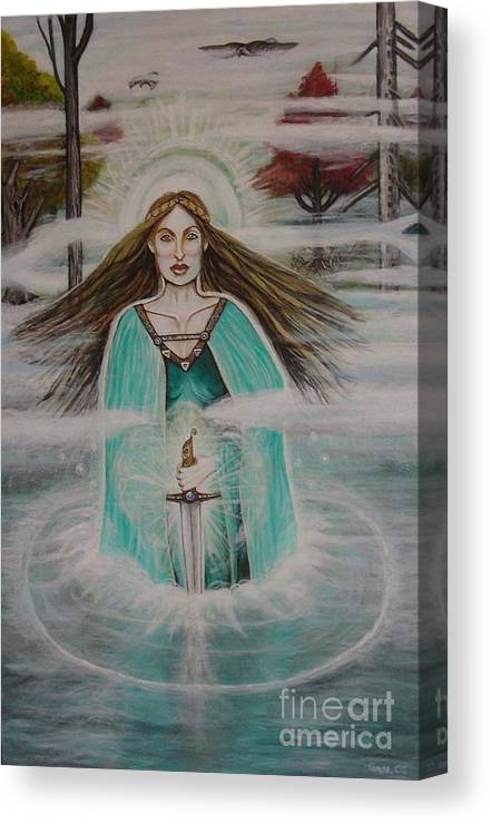 Goddess Canvas Print featuring the painting Lady Of The Lake II by Tammy Mae Moon