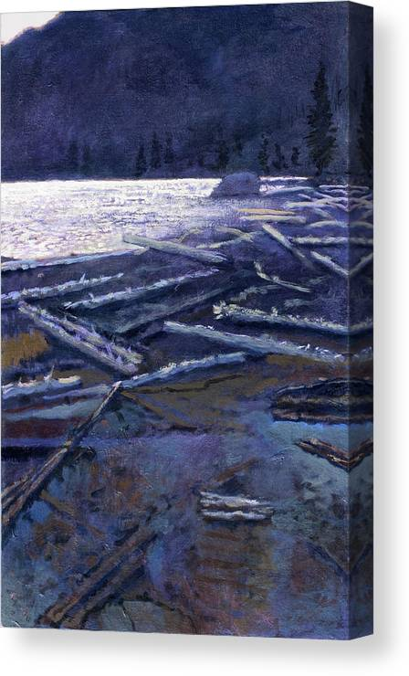 Lake Canvas Print featuring the painting Lake In Moonlight by Robert Bissett