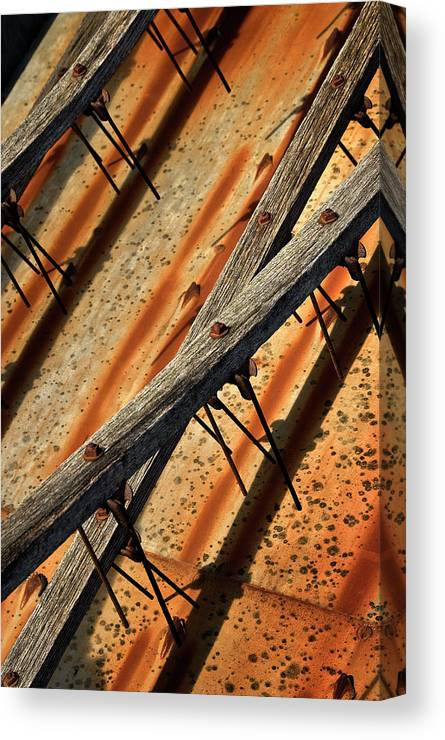 Machine Canvas Print featuring the photograph Needles And Wood by Murray Bloom