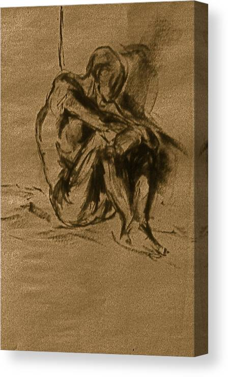 Nude Figure Drawings Female And Male Charcoal Drawings Male And Female Conte Drawings Female And Male Graphite Drawings Female Nude Drawings Male Nude Drawings Theme Drawings Drawings Canvas Print featuring the drawing Philonius by Chris Riley