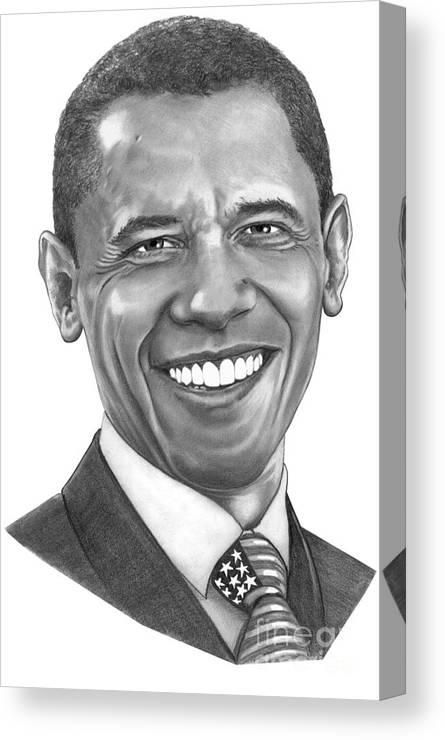Drawing Canvas Print featuring the drawing President Barack Obama By Murphy Art. Elliott by Murphy Elliott