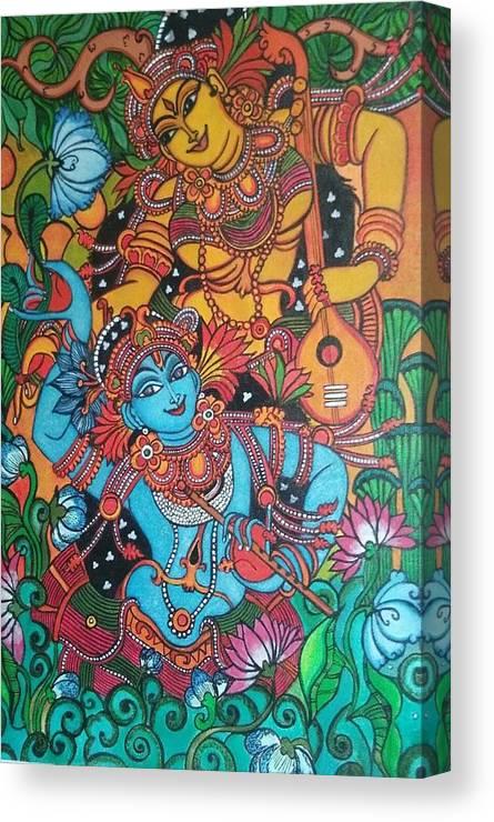 Radha Krishna Mural Canvas Print