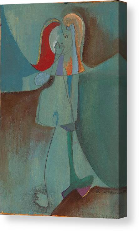 Abstract Canvas Print featuring the painting She Thinks She Walks On The Moon by Ricky Sencion