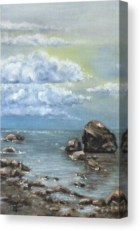 Sea Canvas Print featuring the painting Shimmer by Maren Jeskanen